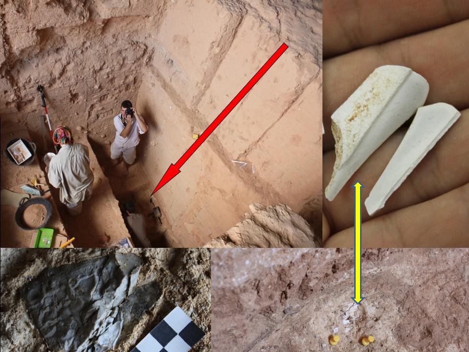 Huesos y sílex calcinados por el fuego en una capa profunda del sedimento de Cueva Negra