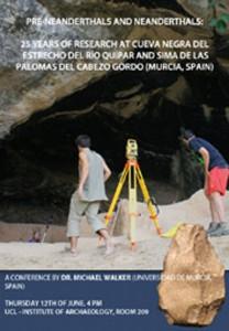 Cartel anunciador de la conferencia en el Instituto de Arqueología de la UCL